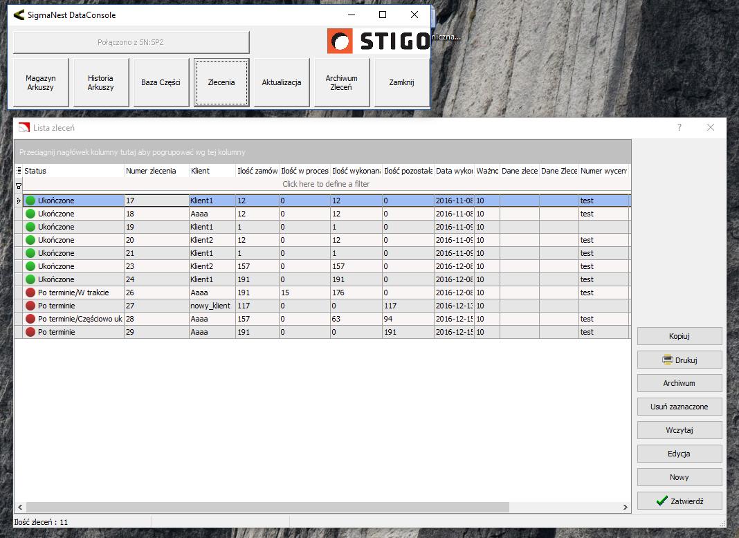 Moduł zarządzania DATA CONSOLE SigmaNEST - Zarządzanie procesem cięcia