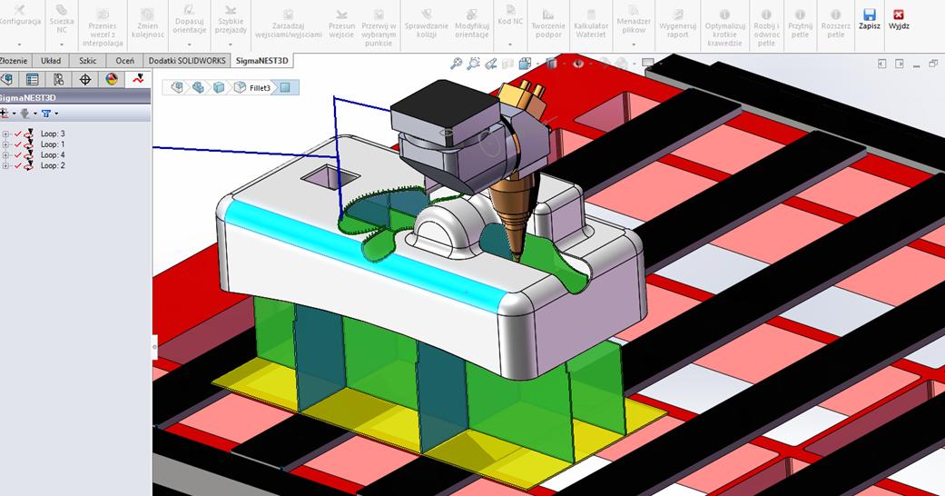 SigmaNEST 3D: Program do cięcia 5-cio osiowego (INTERFEJS UŻYTKOWNIKA)