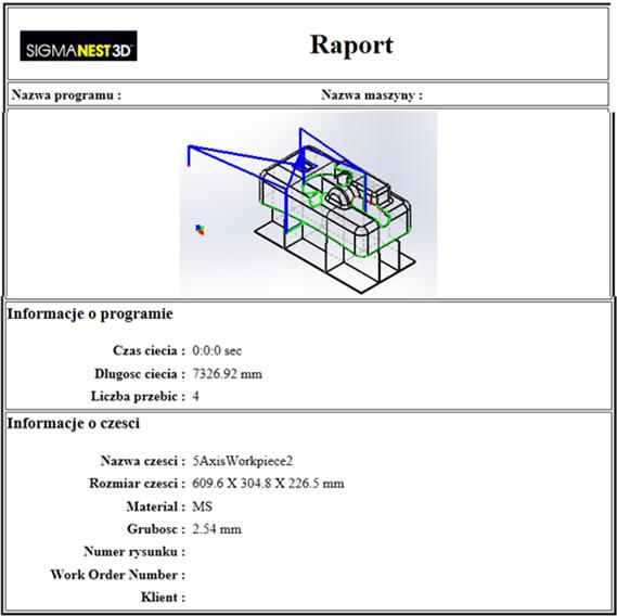 SigmaNEST 3D: Program do cięcia 5-cio osiowego (RAPORT)
