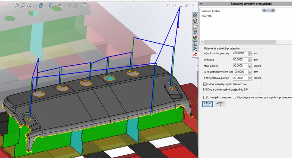 SigmaNEST 3D: Program do cięcia 5-osiowego (Zarządzanie szybkimi przejazdami)