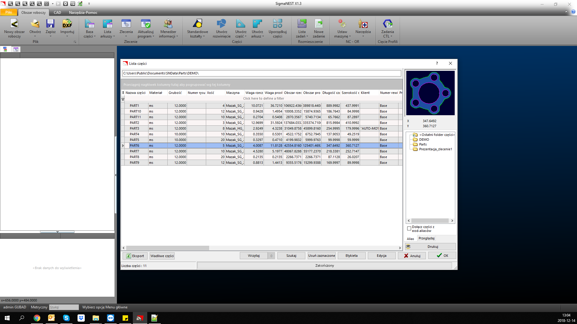 Funkcje SigmaNEST: Baza danych - wykaz detali wraz z ich całą historią i rewizjami