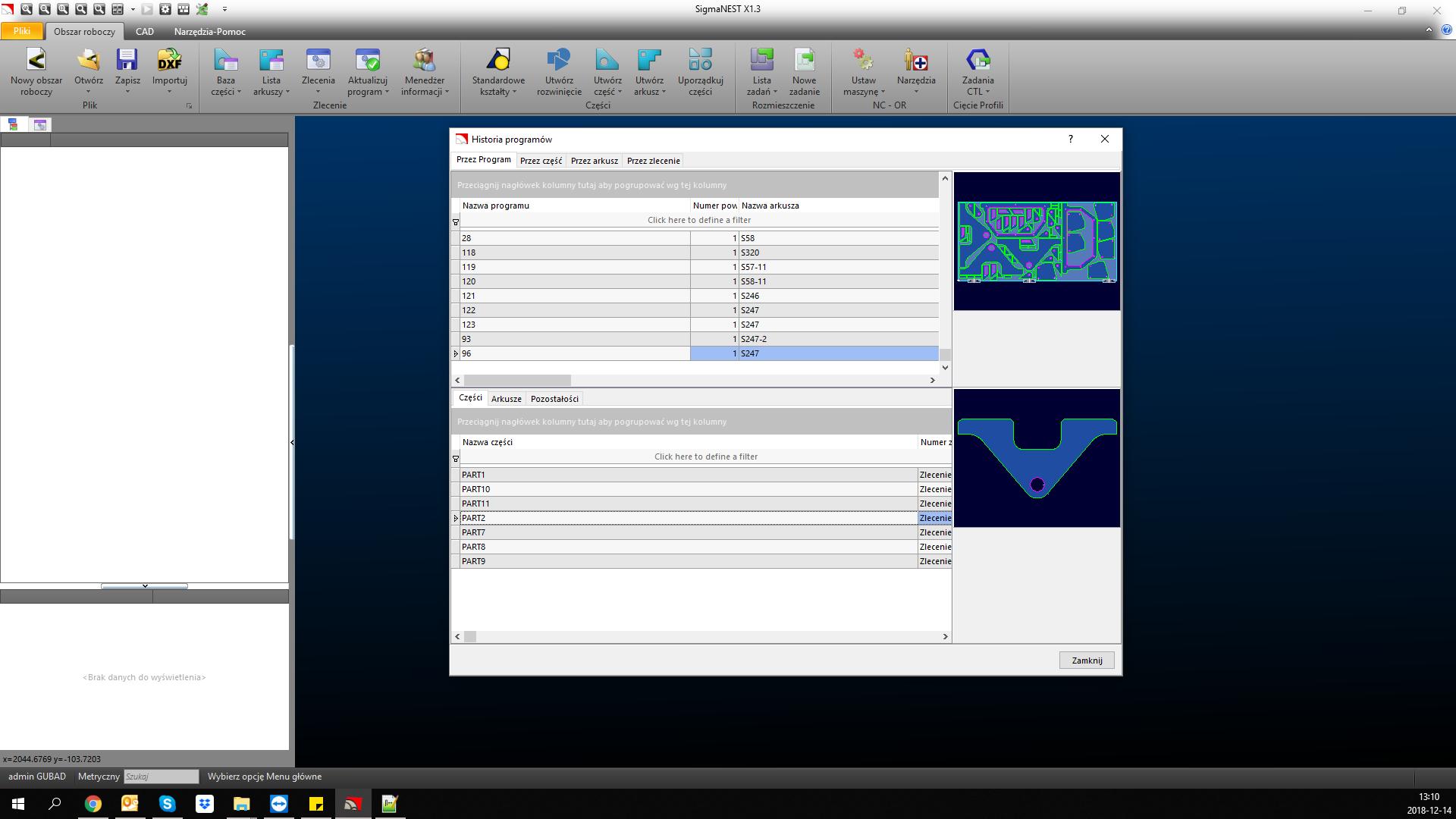 Funkcje SigmaNEST: Baza danych - wykaz programów NC, które były wypalane oraz wykaz wypalonych detali