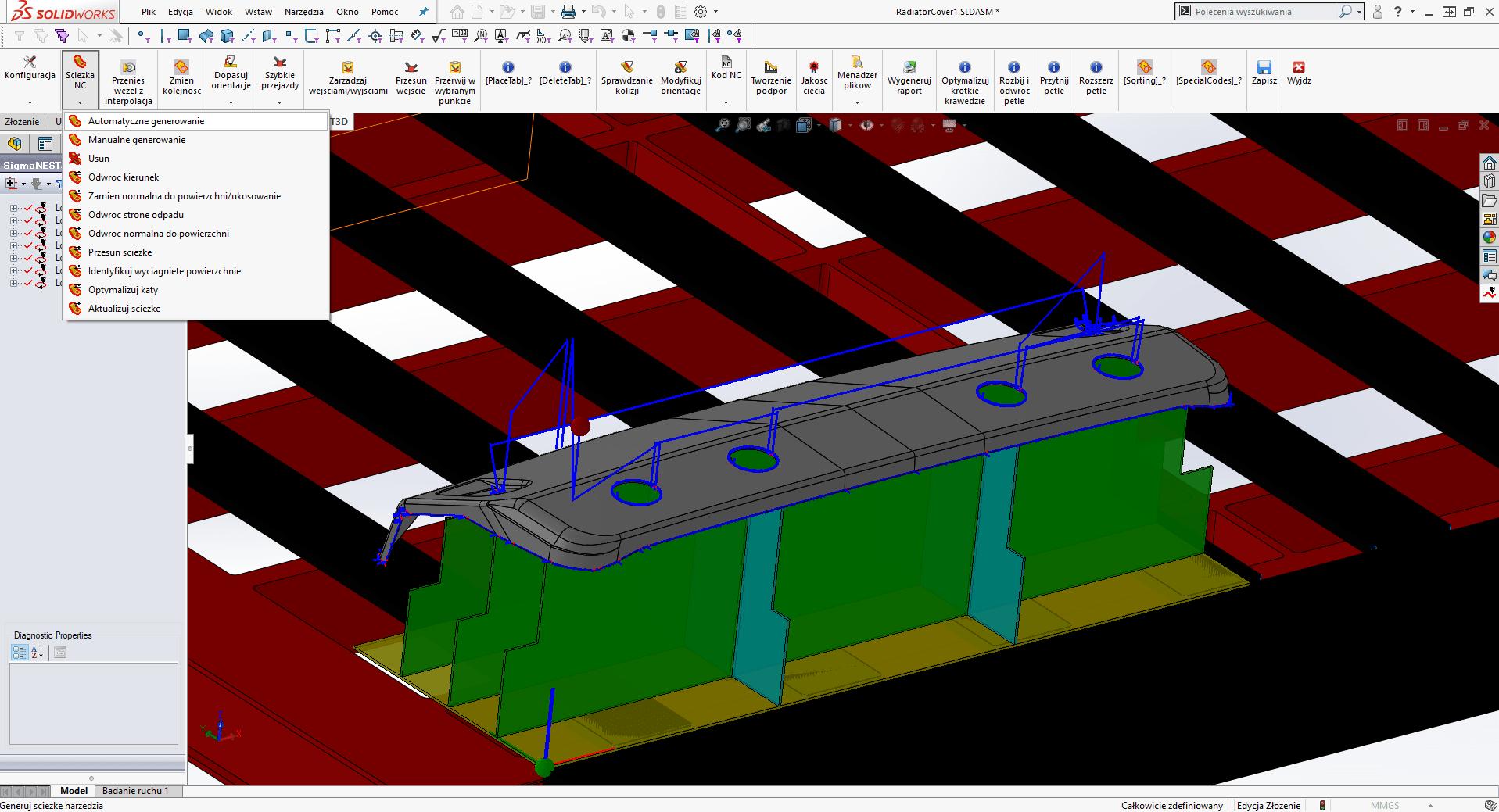 SigmaNEST 3D: Program do cięcia 5-osiowego (Generowanie ścieżki nc automatyczne)