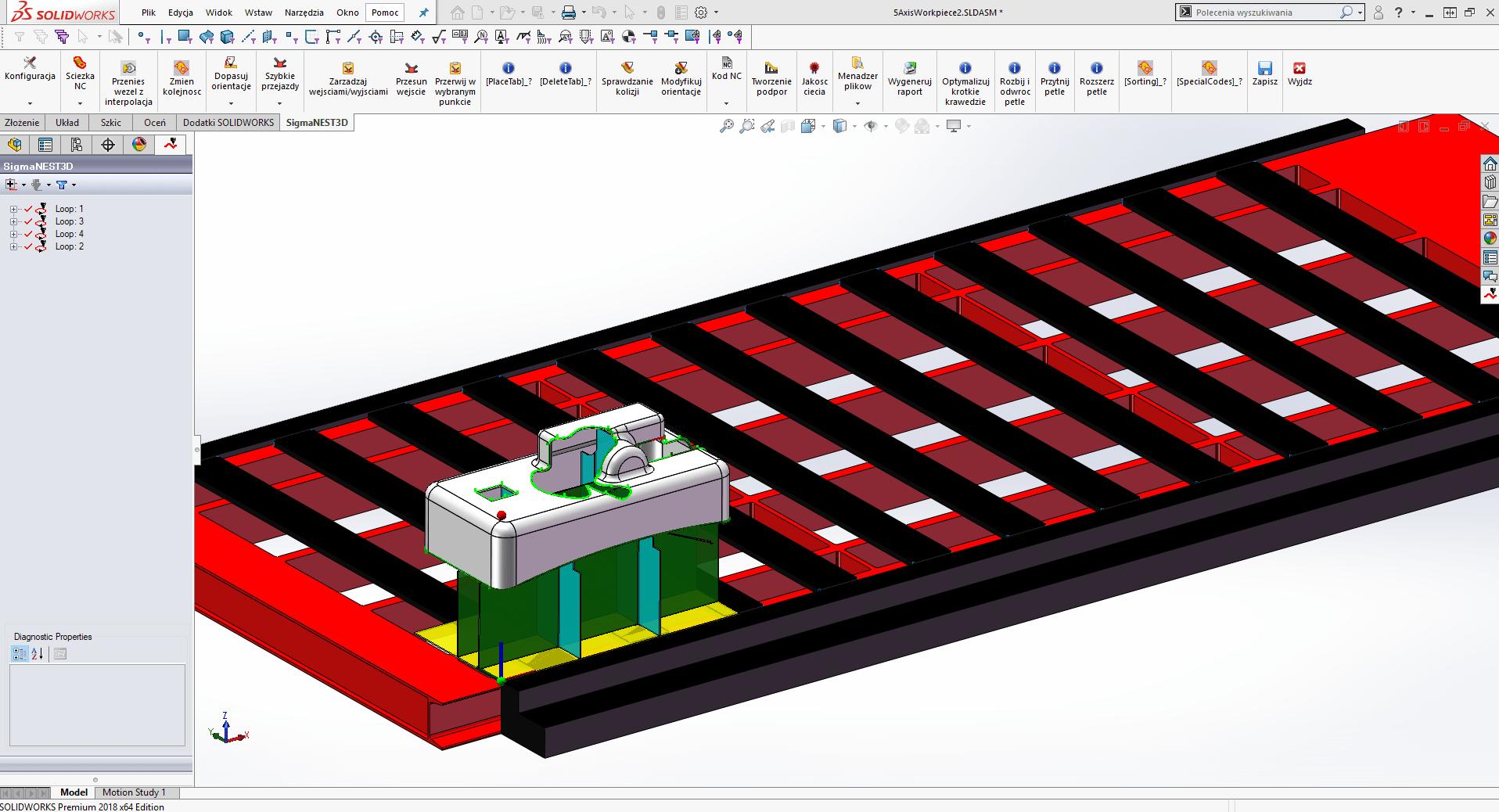 SigmaNEST 3D: Program do cięcia 5-osiowego (Interfejs użytkownika)