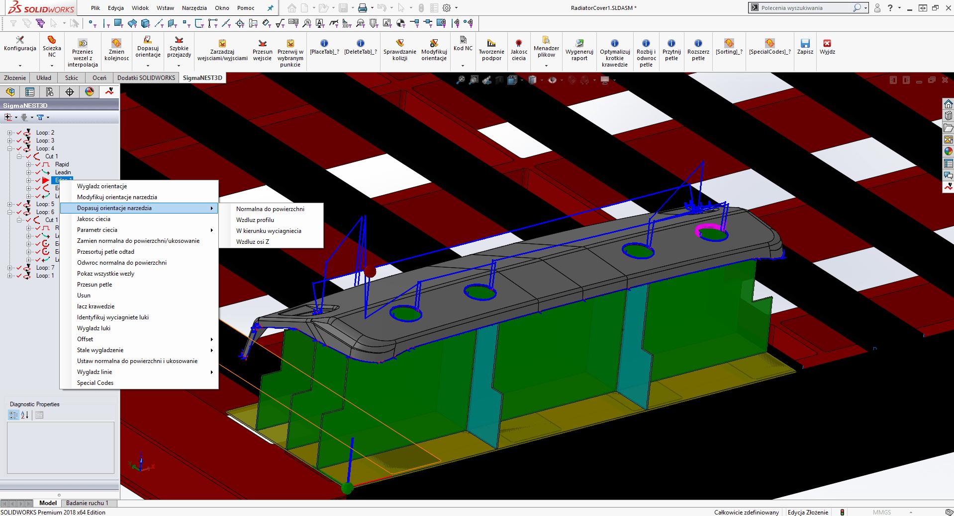 SigmaNEST 3D: Program do cięcia 5-osiowego (Generowanie ścieżki nc opcje do modyfikacji)