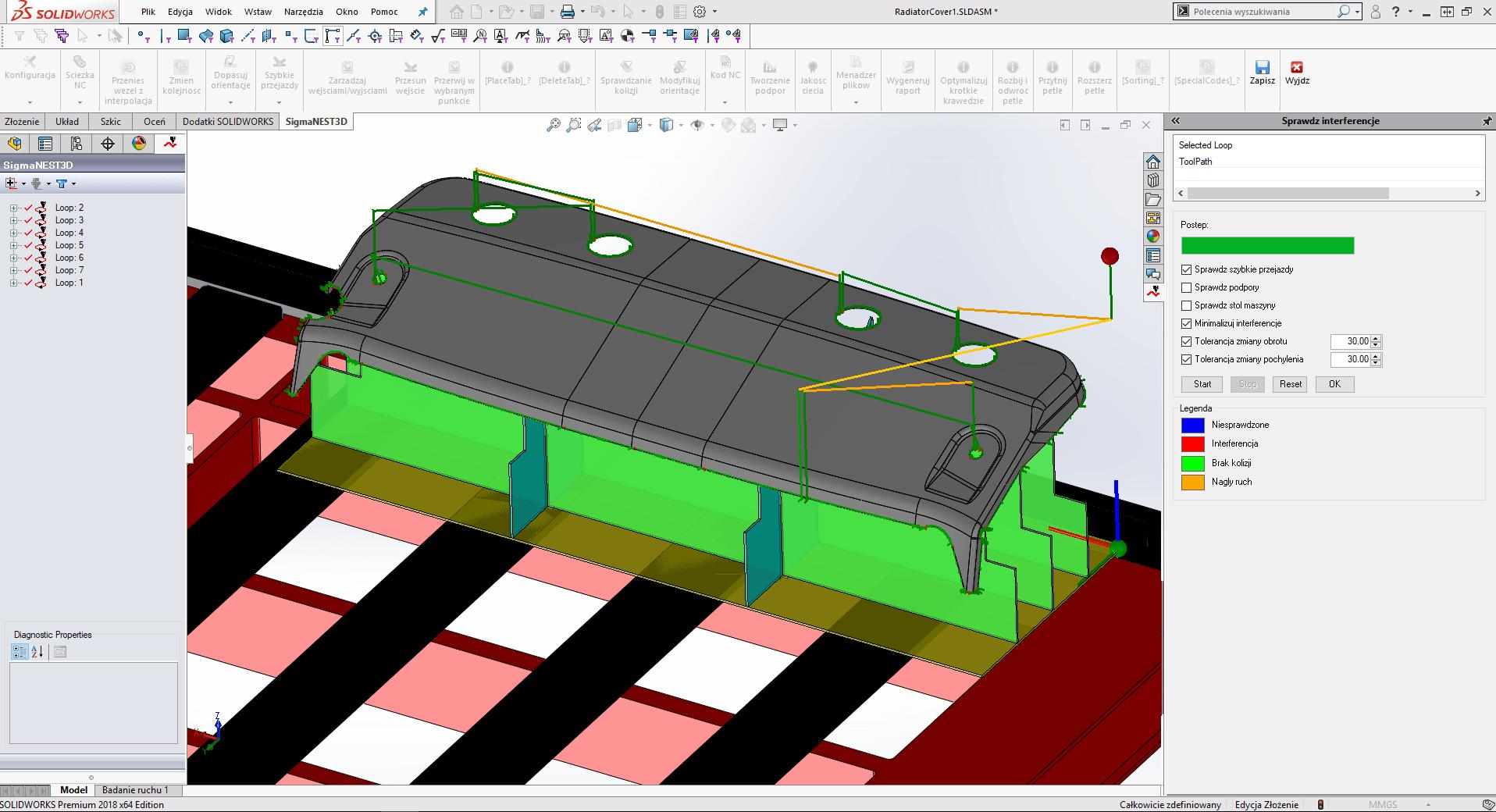 SigmaNEST 3D: Program do cięcia 5-osiowego (Sprawdzane i minimalizowanie interferencji)