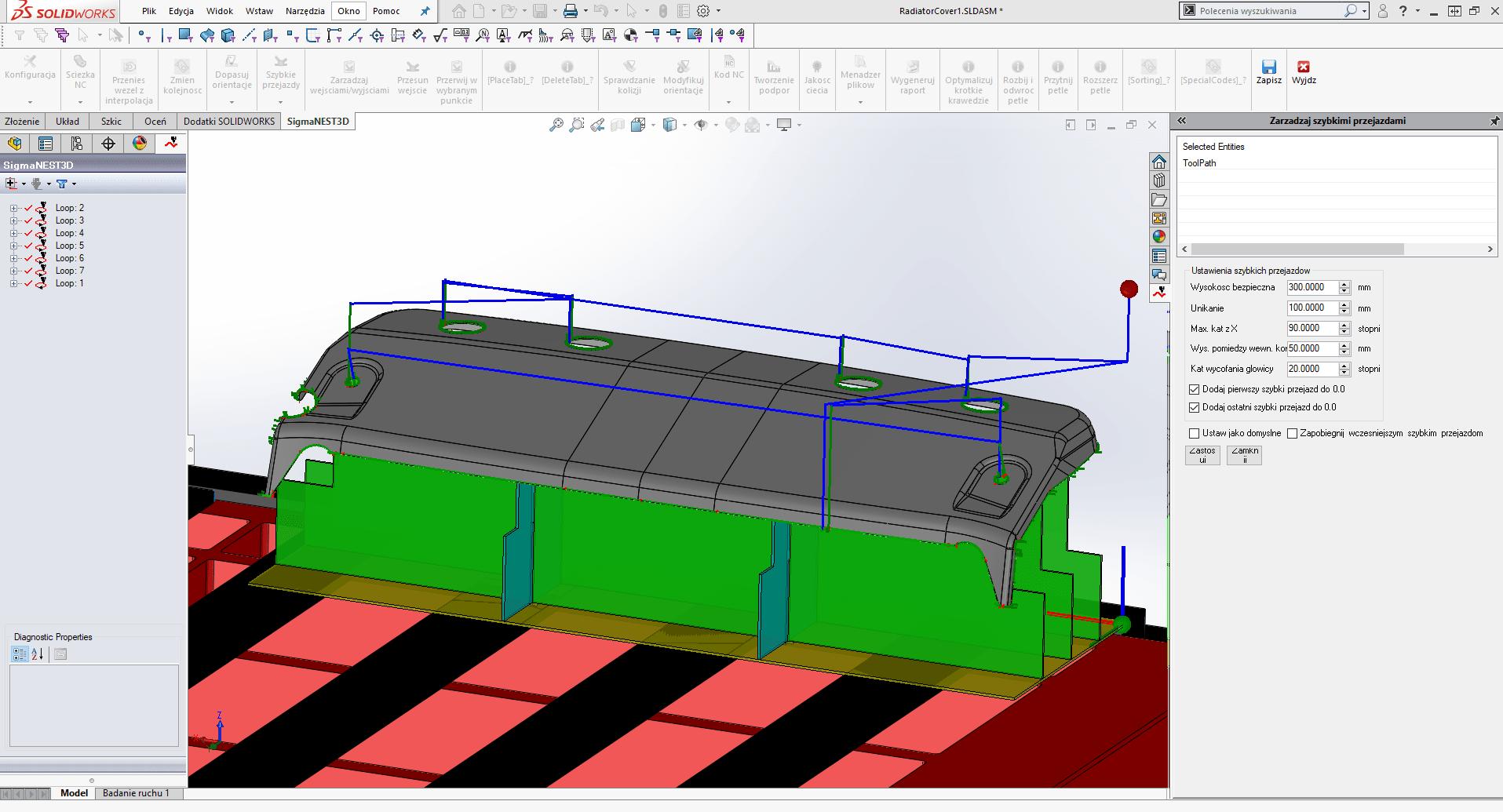 SigmaNEST 3D Program do cięcia 5-osiowego (Zarządzanie szybkimi przejazdami)