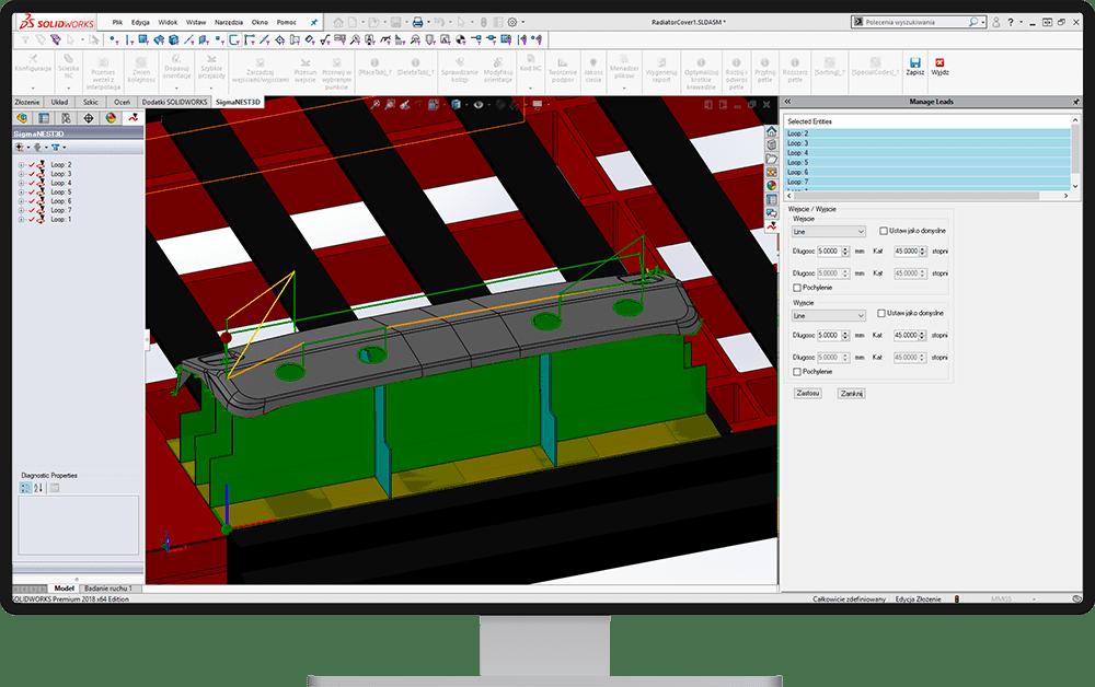 SigmaNEST 3D: Program do cięcia 5-osiowego (edycja ścieżki nc)