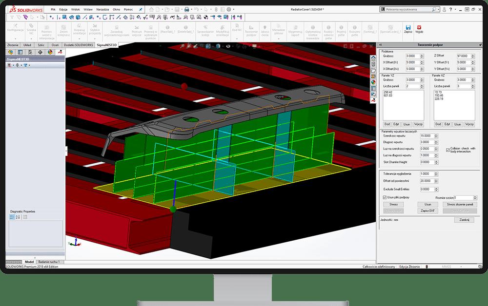 Generowanie paneli podpór - SigmaNEST 3D
