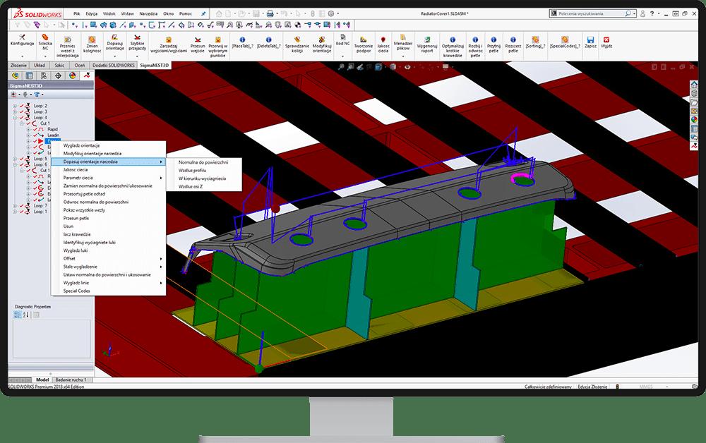 Modyfikacja orientacji narzędzia tnącego - SigmaNEST 3D
