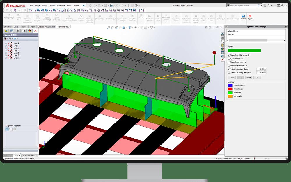 Sprawdzenie interferencji - SigmaNEST 3D