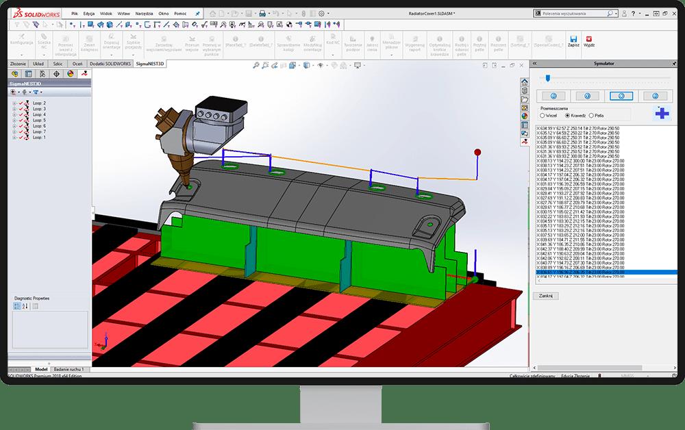 Symulacja 3D cięcia - SigmaNEST 3D