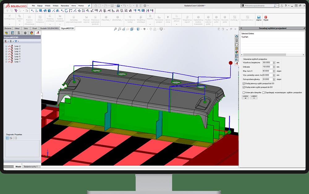 Zarządzanie szybkimi przejazdami - SigmaNEST 3D